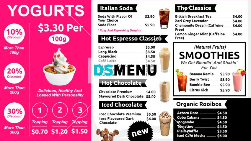 Design yogurt restaurant cafe menu online