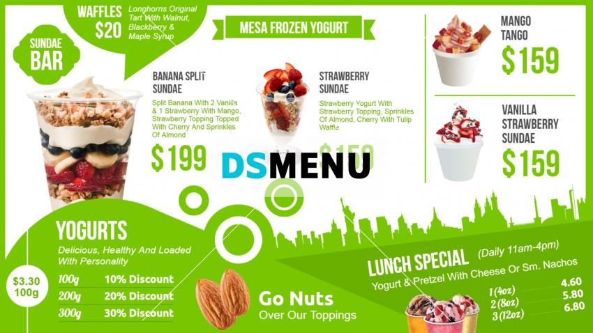 Design yogurt menu template online easity