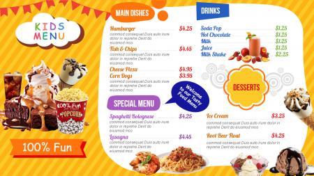 kids menu template | Digital Signage Template