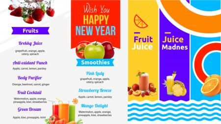 Juice bar menu | Digital Signage Template