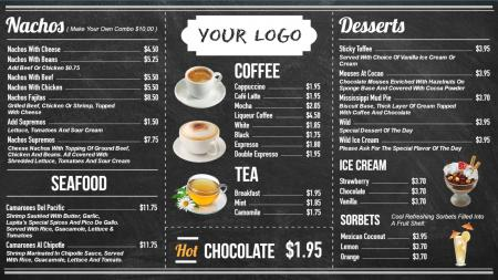 coffee menu board