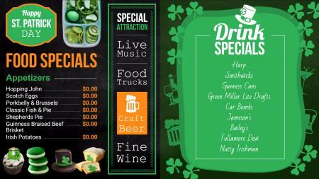 Bar and grill menu templates | Digital Signage Template
