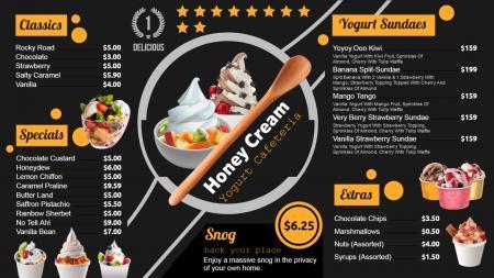 yogurt menu board | Digital Signage Template