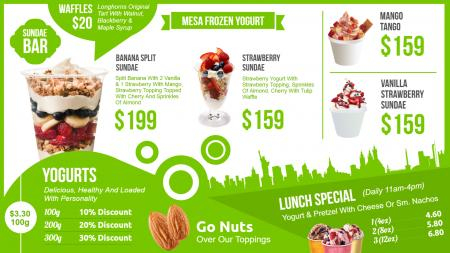 yogurt menu template | Digital Signage Template