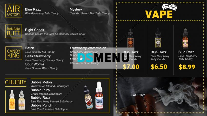Vape menu board design for digital signage at home