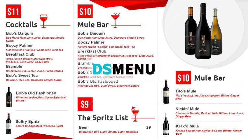 Wine menu board template for digital signage for restaurants