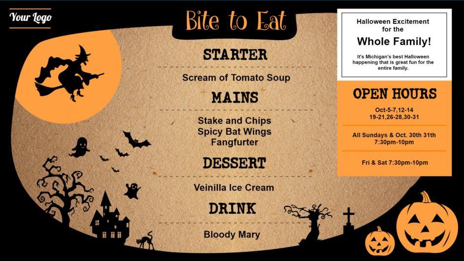 Halloween menu template for digital signage