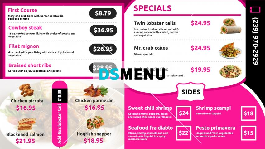 Modern restaurant menu template for digital signage