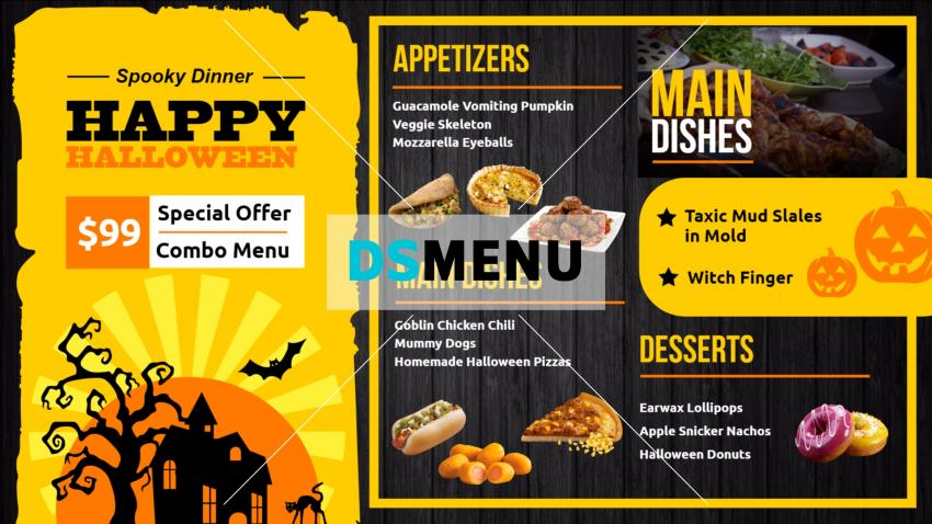Halloween restaurant menu template for season offer
