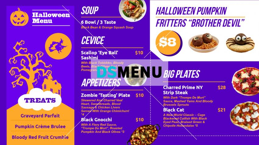 Digital signage halloween restaurant menu design