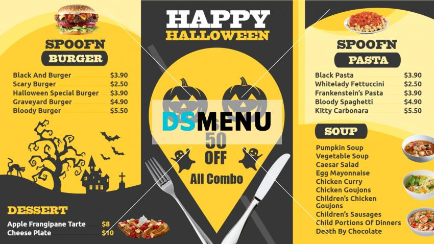 Halloween Restaurant Menu Template for Digital Signage