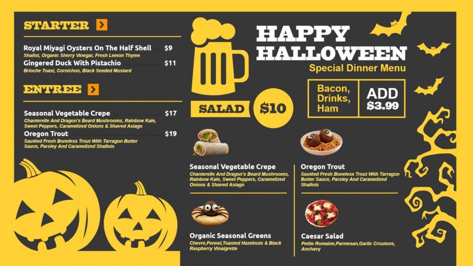 Restaurant Halloween menu template for digital signage