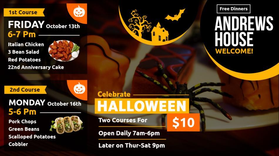 Restaurant Halloween menu board through digital signage open source software