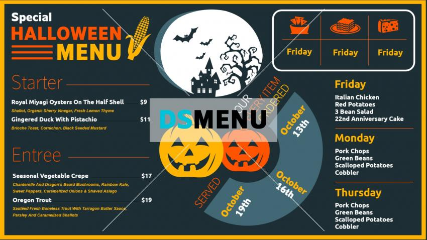 Restaurant halloween menu with Free Templates