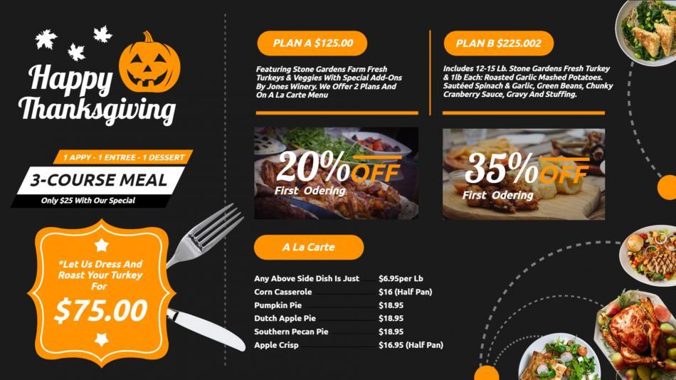Thanksgiving restaurant menu board design idea for digital signage