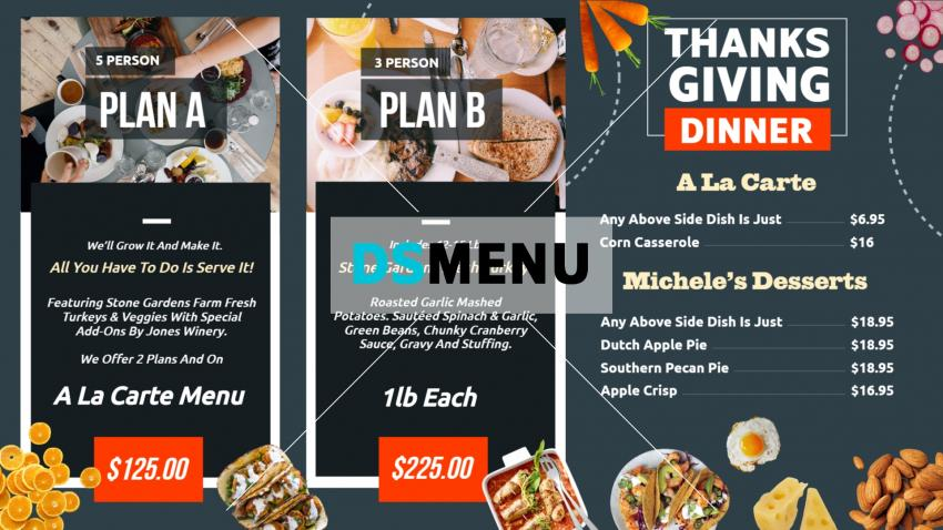 Thanksgiving restaurant menu board for digital signage