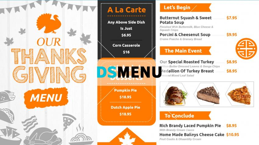 Thanks giving restaurant menu template for digital signage
