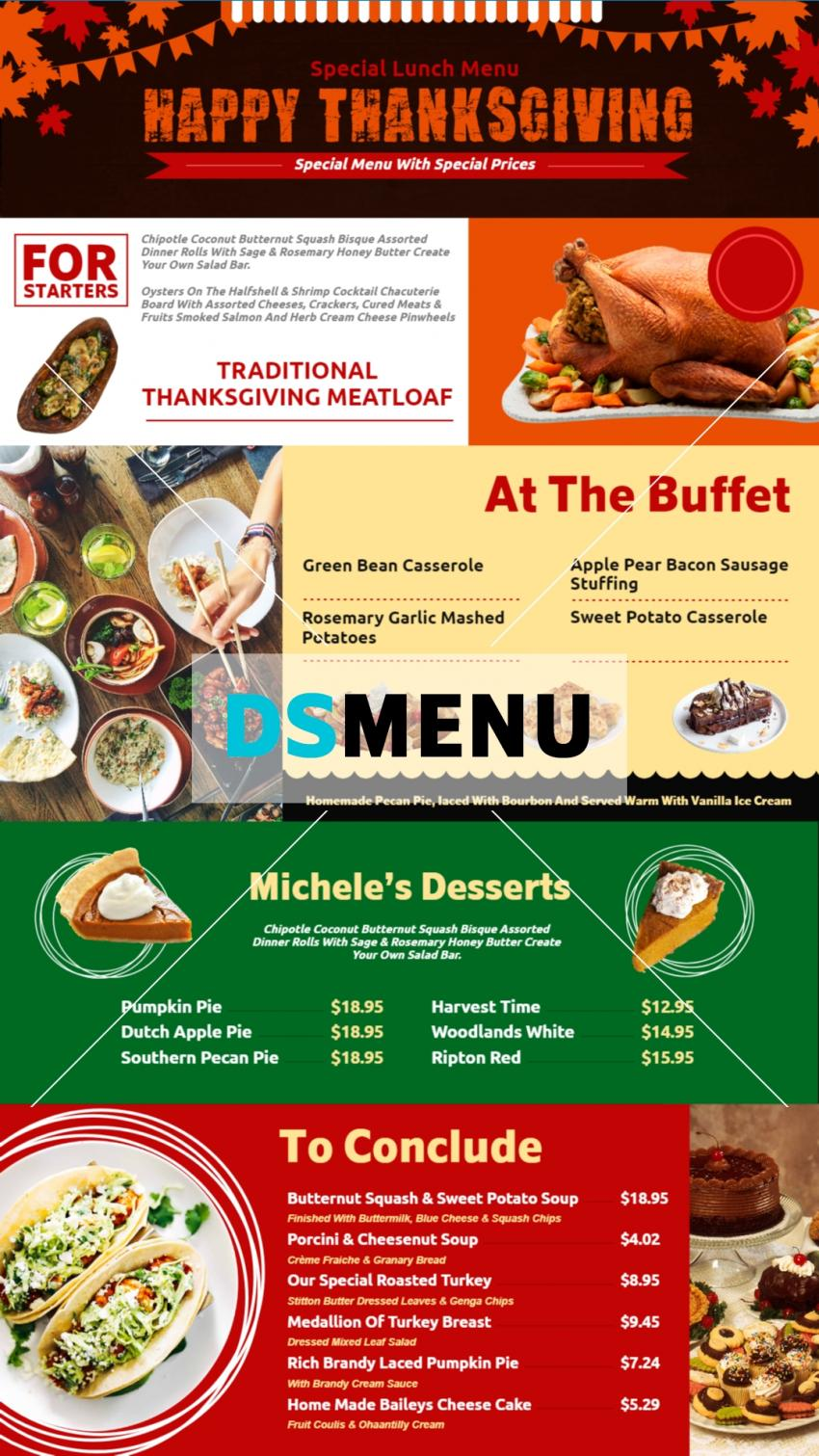 Multi color restaurant menu board design for digital signage