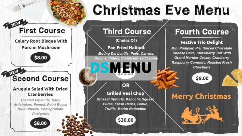 Christmas eve restaurant menu for digital menu boards