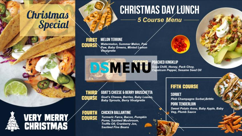 Christmas special restaurant menu for free