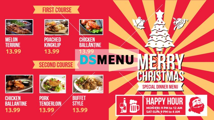 Red Christmas bar and grill menu for restaurants