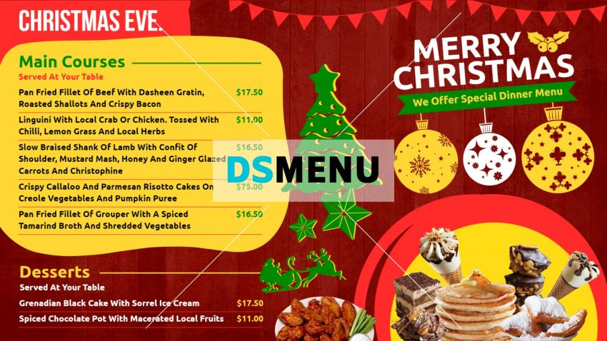 Colorful Christmas Takeaway menu design for restaurants