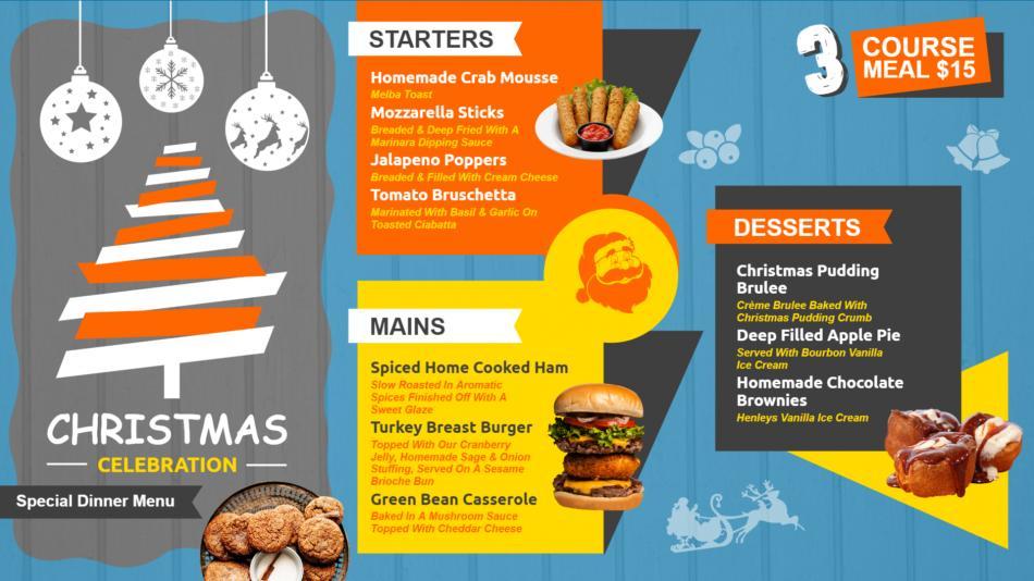 Christmas Restaurant menu design for digital signage