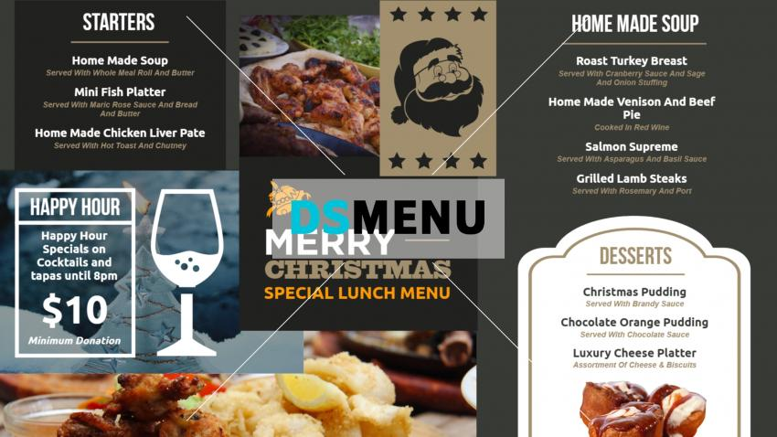 Christmas Restaurant menu templates for digital signage
