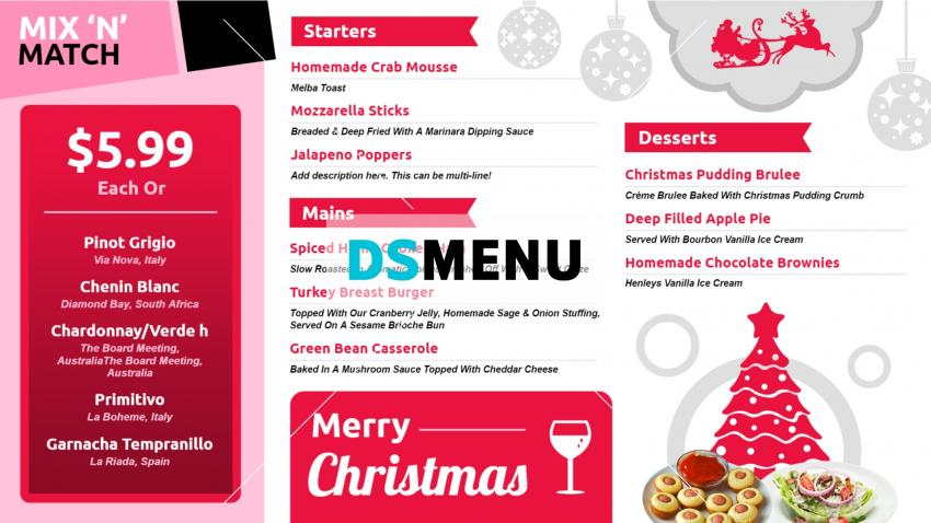 Digital signage Takeaway menu design for Christmas