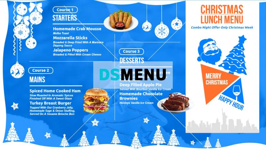 Blue Christmas special menu board for digital signage