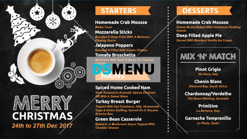 Black Christmas Restaurant Menu Board Design