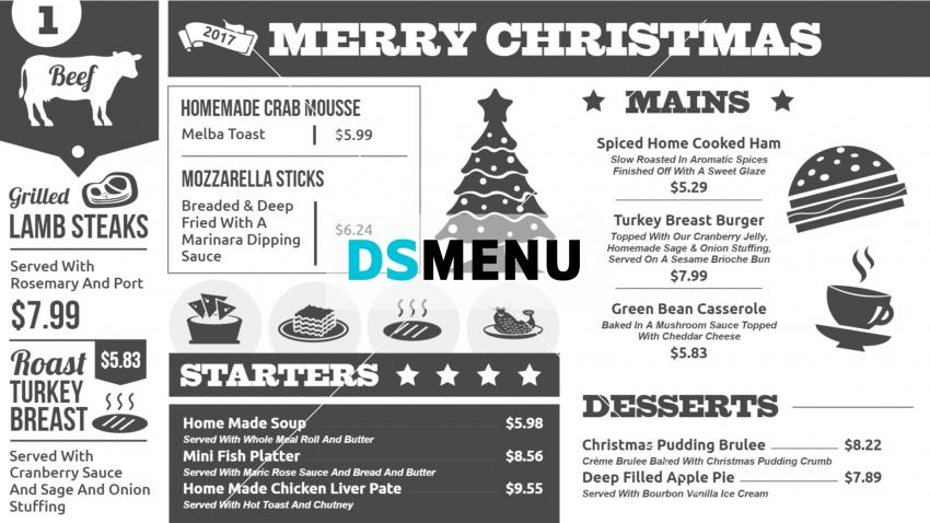 Black and White Festive menu board template for Digital Signage