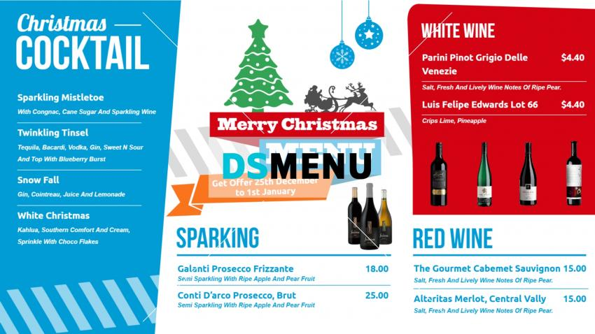 Multi color Christmas Bar Menu Board for digital signage