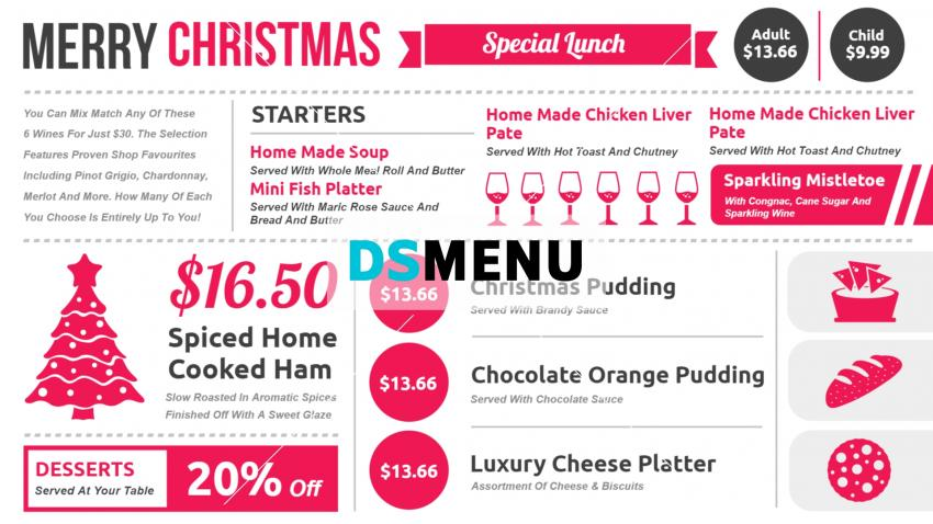 Digital signage Cafe Menu Board design for festive season
