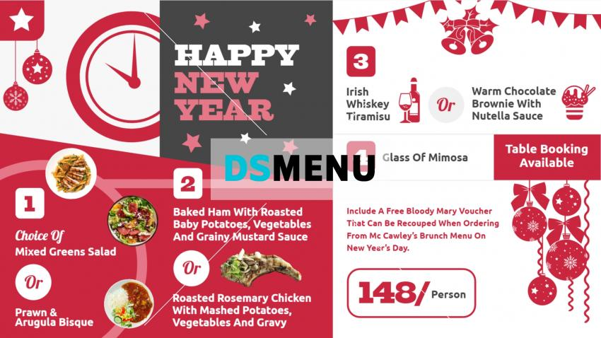 New Year QSR Restaurant Menu Design for Digital Signage