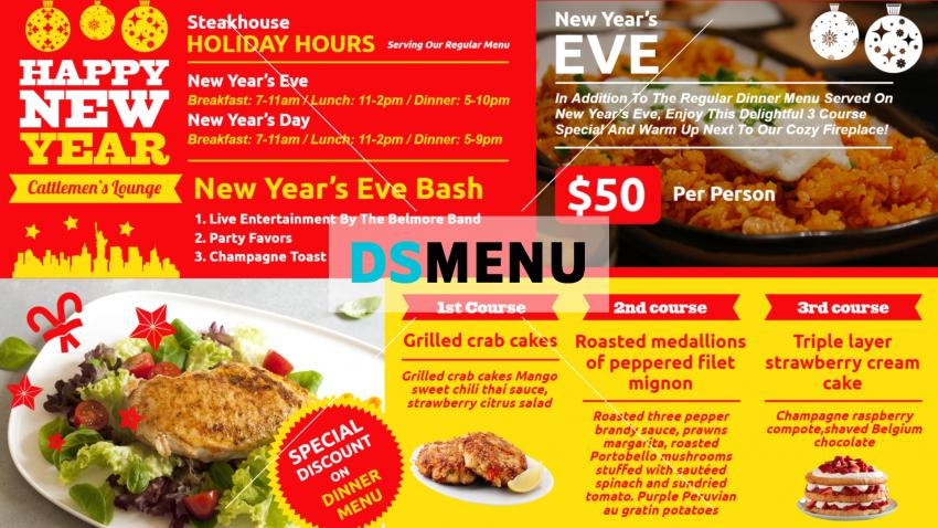 Red New Year Restaurant Menu Template for digital signage