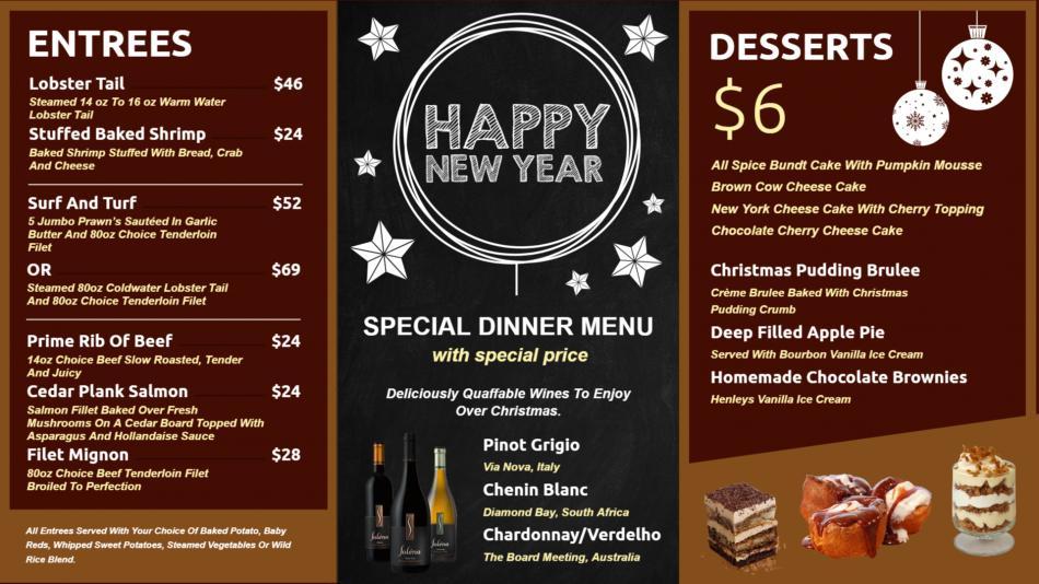 Cafe menu board design template for festive session