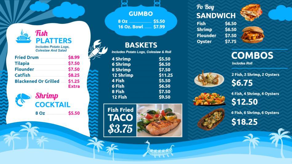 Minimal restaurant menu template for digital signage screens