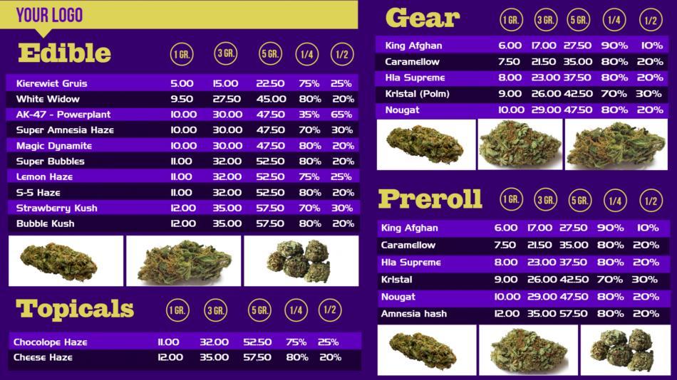 Free Marijuana Menuboard for digital signage