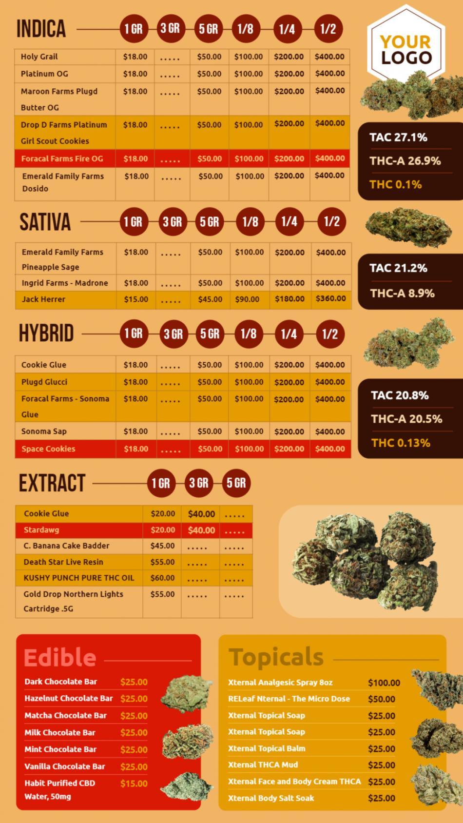 Marijuana Menuboard