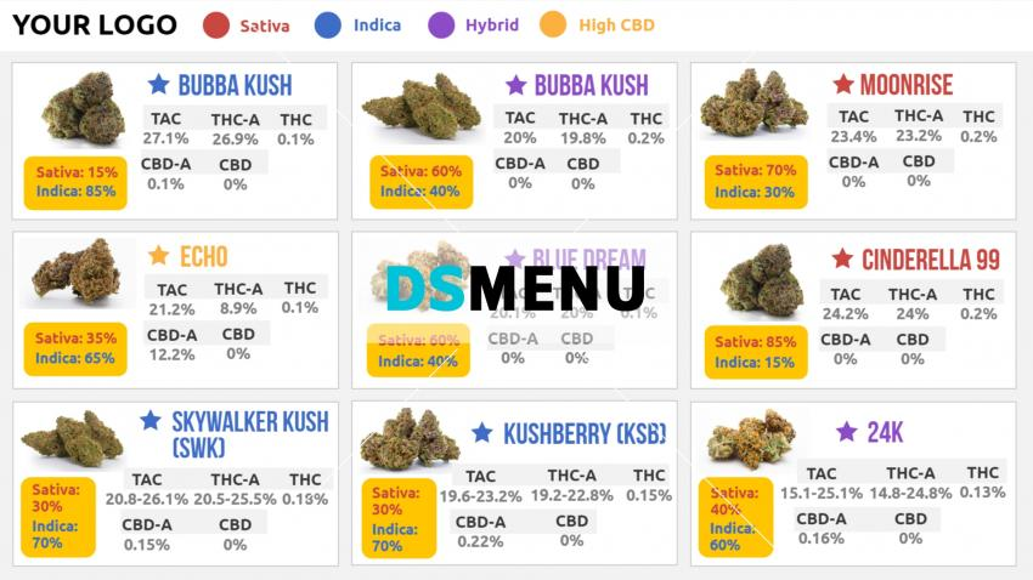 Download Free Marijuana Menuboard for digital signage
