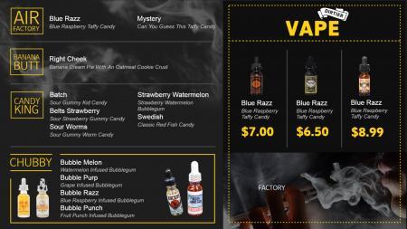 vape menuboard | Digital Signage Template