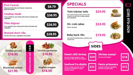 restaurant menu template | Digital Signage Template