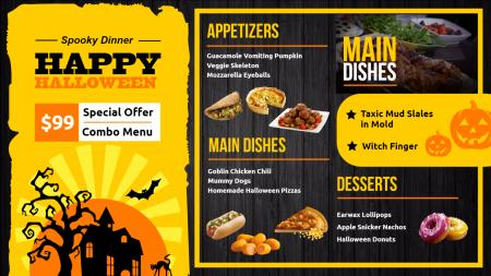 halloween menu | Digital Signage Template