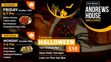 Restaurant Halloween menu board | Digital Signage Template