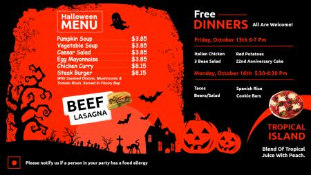 Halloween Menu Template | Digital Signage Template