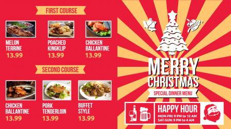 christmas bar and grill menu | Digital Signage Template
