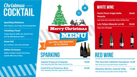 Christmas Bar Menu Board | Digital Signage Template