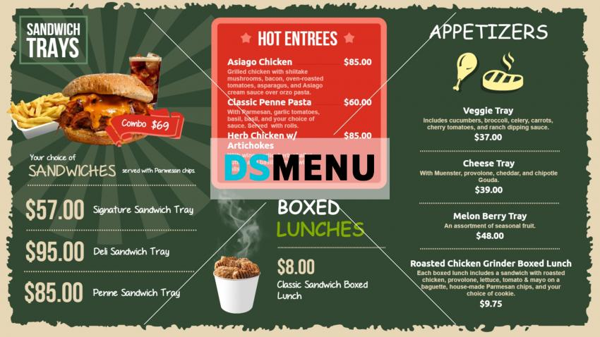 Vintage digital signage menu template for restaurants