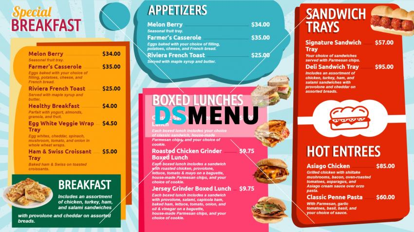 Multicolor Bistro Grill Menu Board template for digital signage